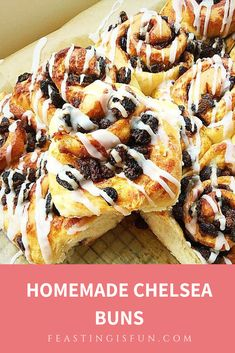 Food Photography Homemade Chelsea Buns - Feasting Is Fun Best Breakfast Recipes, Great Recipes, Delicious Recipes, Favorite Recipes, Chelsea Bun Recipe, Bakery Recipes, Cooking Recipes, Iced Buns, Sweet Dough