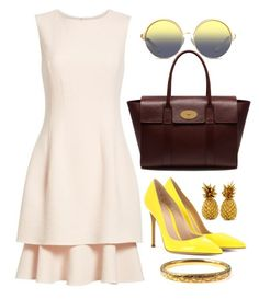 Blush & Yellow by carolineas on Polyvore featuring polyvore, fashion, style, Oscar de la Renta, Gianvito Rossi, Mulberry, Matthew Williamson and clothing