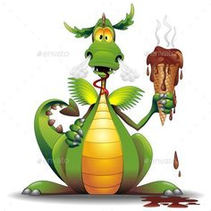Buy Dragon Cartoon with Melted Ice Cream by Bluedarkat on GraphicRiver. Fun Dragon Cartoon Holding a Melted Chocolate Ice Cream, and looking Surprised and Amazed that his hot Breath has alr. Dinosaur Facts, Dinosaur Images, Dinosaur Pictures, Dragon Pictures, Dinosaur Dinosaur, Sheldon The Tiny Dinosaur, Magical Creatures, Fantasy Creatures, Dinosaur Background