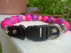 Pink and Purple Unbreakable Beaded Dog Collars by BeadieBabiez