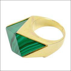 Vintage malachite & gold ring