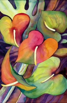 Lines - tropical flowers in pink  orange  blue   mint Art Print by