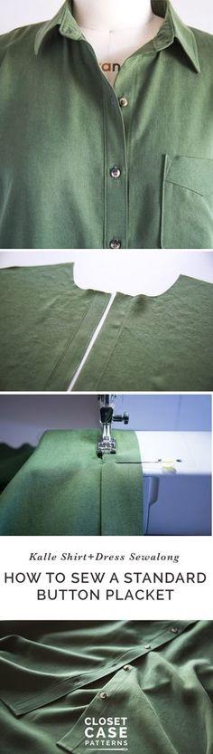 How to sew a standard button placket // Kalle Shirtdress Sewalong // Closet Case Patterns via @closetcasepatt