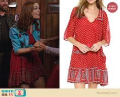 Brennan's red printed dress on Bones. Outfit Details: http://wornontv.net/23190 #Bones