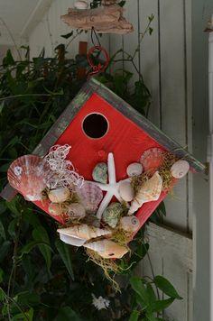 Sea Shell Birdhouse Red Nautical Beach Bird by BirdhousesByMichele, $60.00