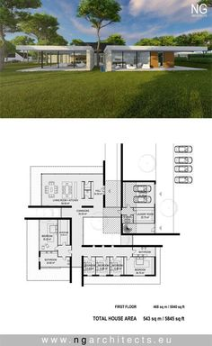 Modern villa Wings designed by NG architects www. Container House Plans, Container House Design, Contemporary House Plans, Modern House Plans, Dream House Plans, House Floor Plans, Luxury Homes Exterior, Villa Plan, Architectural Floor Plans