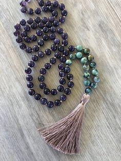 Goddess Rising Mala Amethyst & African Turquoise 108 Bead
