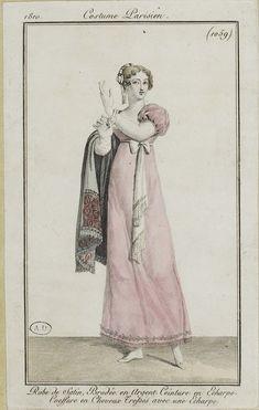 """Costume Parisien, 1810,     From the Bibliothèque des Arts Décoratifs via SceneInThePast flickr.   Plate 1059  """"Robe de Satin, Brodée en Argent. Ceinture en Echarpe. Coeffure en Cheveux Tresses avec une Echarpe"""""""