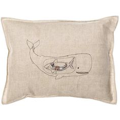 Coral & Tusk - Very Hungry Whale Embroidered Linen Pillow