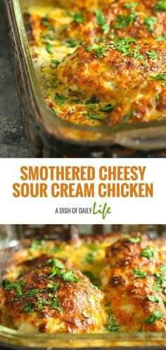 Smothered Cheesy Sour Cream Chicken: Fast, easy, delicious baked chicken dish that the whole family will LOVE! 10 min prep time & the oven takes care of the rest! #Chicken #EasyDinnerRecipes #EasyDinners #FamilyDinners