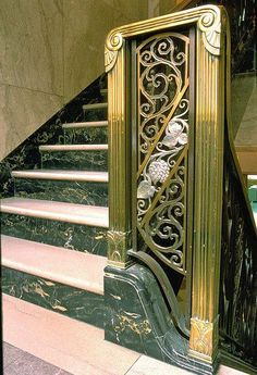Art Deco Staircase at National Breweries Building in Montreal, Canada