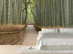 papier peint original pour la chambre à coucher moderne, mur en papier peint mural décoratif forêt de bambou
