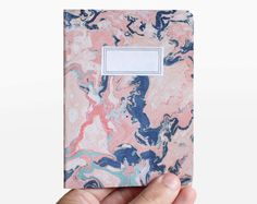 Lot of 2 notebooks - marbling paper orange and green - MAR6001. $8.00, via Etsy.