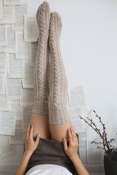 Over knee merino wool hand knitted merino wool socks, long warm socks, natural wool extra long hand knitted socks, Christmas gift for her White Knee High Socks, Thigh High Socks, Fashion Tights, Fashion Outfits, Womens Fashion, Knitting Socks, Hand Knitting, Long Socks Outfit, Merino Wool Socks