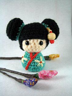 Haruko, an amigurumi kokeshi doll, via Flickr.