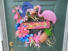Wreath Spring Summer Flamingo Flipflops Beach Tiki Bar Tropical Shabby Vintage   eBay