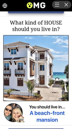 Beautiful home on the beach! Does it comes on small size? Fun Quizzes, Cozy Room, Beautiful Homes, Outdoor Living, Things To Come, Mansions, House Styles, Beach, Home Decor