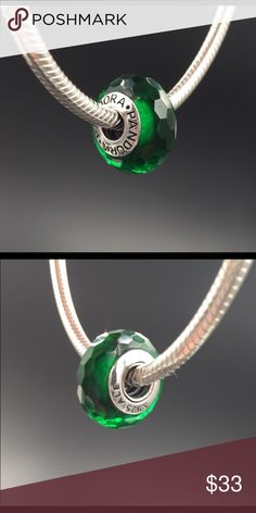 """Pandora Charm NWOT Pandora """"Fascinating Green"""" murano glass charm. Sterling silver core. Properly hallmarked S925 ALE. Pandora box not available. No trades or off-Posh transactions. Thanks and happy Poshing!! Pandora Jewelry Bracelets"""