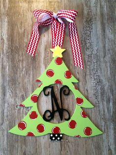 Christmas Tree Wood Monogram Door Decoration Holiday Wreath Wooden Christmas Tree Door Decor Holiday Gift Teacher Gift Hand Painted Tree by TheLetterBoutique on Etsy