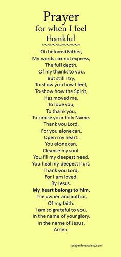 Prayer for when I feel thankful