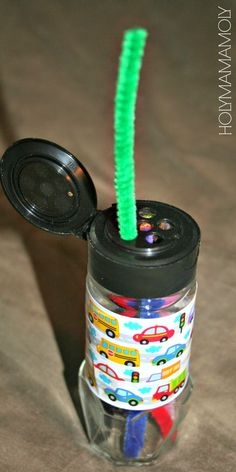 """another pinner said """"I didn't have the time/patience to get the spice sticker all the way off, so I used some fun masking tape to cover it, cut the pipe cleaners to size, and there you have it! """""""