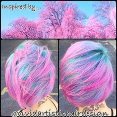 Pink and aqua hair