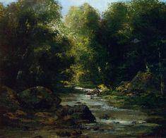 Paysage fluvial, huile sur toile de Gustave Courbet (1819-1877, France)