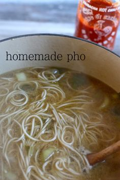 Homemade Chicken Pho ... you can use beef too. My husband loves this. The sirachi is a must!! Yum:)