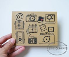 Set of Four Camera Folded Note Cards Stationery by penandpaint, $8.50 Had to treat myself to these...