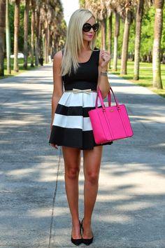 Great black and white skater skirt for summer-BowsandDepos... - Street Fashion