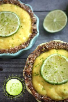 Raw mango-lime tarts