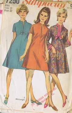 1 PC Dress VINTAGE SEWING PATTERN 60s SIMPLICITY 7250 SIZE 12 BUST 32 HIP 34 CUT
