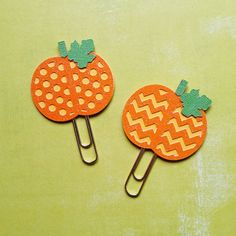 These adorable little pumpkins will be the perfect edition to your planner or favorite book!  Made from high quality cardstock, with low shed