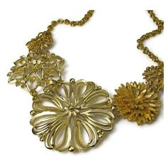 Vintage Flower Necklace Repurposed Jewelry by BluKatDesign on Etsy ($78) ❤ liked on Polyvore