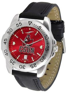 California State Matadors men's sports watch. This Matadors watch comes with a genuine leather strap. A date calendar function plus a rotating bezel/timer circles the scratch-resistant crystal. The sc
