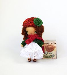Fabric tiny doll Little girl at knitted warm by KMMiniatureDolls