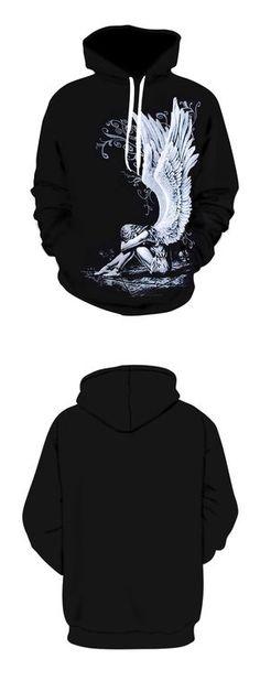 Plus Size Broken Anhoodiegel Print Cool Hoodie - Black 5xl