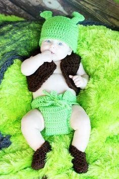 SHREK HAT Diaper cover Vest and boots 4 Piece Set Girl or Boy, Preemie Newborn Infant  Halloween Costume. $42.00, via Etsy.