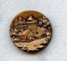 Antique Button - 1800's Gorgeous Metal Button w/Large 3 Dimensional Stork