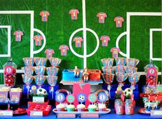 Karo's Fun Land: Barcelona Soccer Themed Birthday Party: the background & dessert table