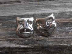 Vintage Happy Sad Earrings, Sterling Silver, Screw-On. Mother's Day, Mom, Gift, Mother of the Bride, Groom. Annivesary, Birthday by EasyBlockStudio on Etsy