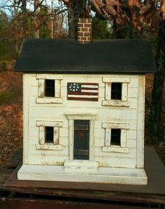 Primitive Lighted Americana Saltbox Folk Art by GooseberryCreek