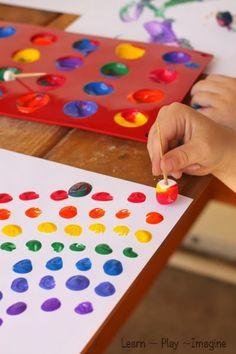 Painting marshmallow rainbows - fine motor art for kids