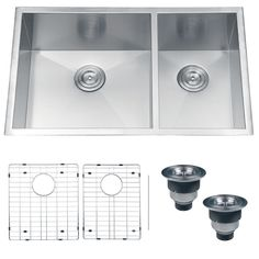 The Ruvati undermount double bowl kitchen sink has a contemporary look for modern kitchens. It's made of durable 16-gauge stainless steel to last for years, and it's easy to clean. Two basket strainers and mounting brackets are included.