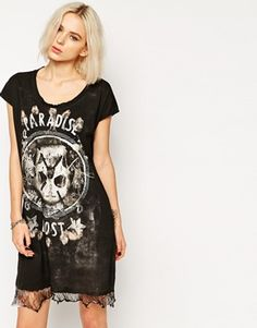 Enlarge Religion T-Shirt Dress With Skeleton Print