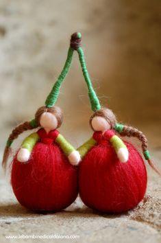 Cherries, wool, Waldorf inspired by LeBambinediCaldalana  #italiasmartteam #etsy