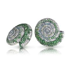 Fabergé - Sea Tzarina Earrings. These intricately gem-coloured shell earrings from Les Fables de Fabergé, the precious ornaments of a fabulous mermaid, a water-nymph or daughter of the Sea Tsar, are inspired by Russian tales of underwater kingdoms with magical creatures who metamorphose into human form.
