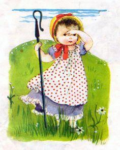 """Mother Goose, Eloise Wilkin, 1961- Little Bo Peep      """"Eloise Wilkin's Mother Goose"""", Little Golden Book, 1961 (1993 reprint)    Illustrations by Eloise Wilkin    """"Little Bo Peep  Lost Her Sheep..."""""""