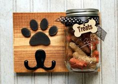 Dog leash holder with treat jar. Dog treat by KingsBenchCreations
