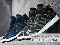Last year, adidas Originals introduced a deconstructed version of the Forum Mid, going by the Veritas Mid. The scaled down edition of the sneaker has just Adidas Camouflage, Adidas Shoes Outlet, Nike Shoes Cheap, Design Nike Shoes, Shoe Releases, Latest Sneakers, Sneaker Magazine, Sneaker Boots, Adidas Originals